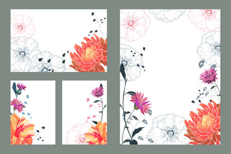 Art floral greeting and business card. Patterns with orange asters, lilies, pink cornflowers, red and green lines with green stems and leaves. Isolated vector flowers on white background.