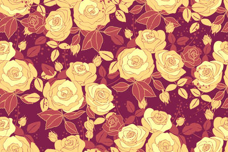 Art floral vector seamless pattern with rose. Pale yellow roses in bouquets with buds and terracota leaves isolated on burgundy background. For fabric, home and kitchen textile, wallpaper design.