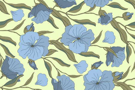 Art floral vector seamless pattern. Blue flowers with branches, leaves and petals isolated on pale yellow background. For home textiles, fabric, wallpaper, kitchen decor, packaging paper, accessories.