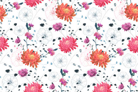Art floral vector seamless pattern. Pink and orange asters, purple cornflowers, pink mallow. Vector garden flowers Isolated on white background. For fabric, home and kitchen textile, wallpaper design.