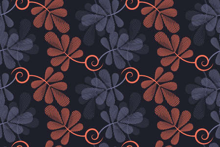 Art floral vector seamless pattern. Striped graphic navy blue, gray, coral color leaves with shadow isolated on deep gray background. For fabric, home and kitchen textile, wrapping paper, wallpaper.