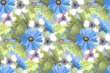 Art floral vector seamless pattern. Blue and white flowers with green leaves. Vector elements Isolated on olive background. For fabric, home and kitchen textile, wallpaper design, wrapping paper.
