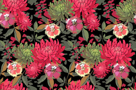 Art floral vector seamless pattern. Pink, red, olive asters, chrysanthemums. Purple, yellow cornflowers. Vector garden flowers Isolated on black background. For fabric, home textile, wallpaper. 矢量图像