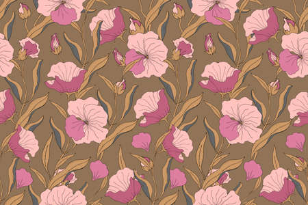 Art floral vector seamless pattern. Pink flowers with branches, leaves and petals isolated on dark ochre background. For home textiles, fabric, wallpaper, kitchen decor, packaging paper, accessories. Illusztráció