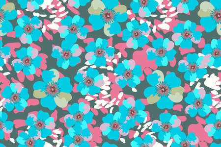 Art floral vector seamless pattern. Blue vector garden flowers Isolated on deep green background. For fabric, home and kitchen textile, wallpaper.