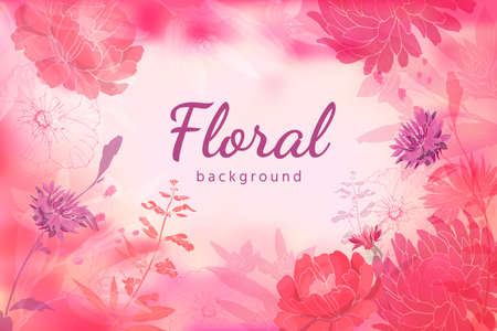 Vector autumn floral background. Watercolor style. Summer and autumn flowers isolated on light pink background. Asters, chrysanthemums, cornflowers, dried flowers, sage, salvia with leaves and twigs.