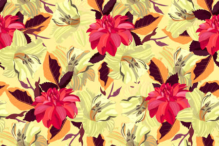 Art floral vector seamless pattern. Red dahlias and yellow lilies with orange and brown leaves isolated on pale yellow background. Flowers in watercolor style. For home textiles, fabric, wallpaper.