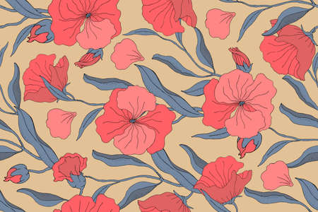 Art floral vector seamless pattern. Red flowers with branches, leaves and petals isolated on beige background. For home textiles, fabric, wallpaper, kitchen decor, packaging paper, accessories. Ilustração
