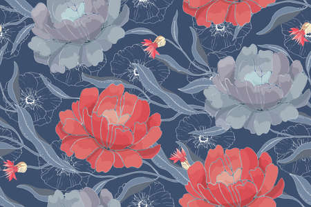 Art floral vector seamless pattern. Red, blue flowers with branches, leaves isolated on blue background. For home textiles, fabric, wallpaper, kitchen decor, packaging paper, accessories.