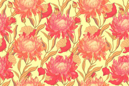Autumn floral vector seamless pattern. Red asters with branches, leaves isolated on yellow background. For home textiles, fabric, wallpaper, kitchen decor, packaging paper, accessories.