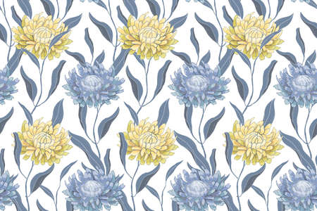Art floral vector seamless pattern with chrysanthemums. Pale blue and yellow flowers and leaves isolated on white background. For templates, fabric, wallpaper design, home and kitchen textile.