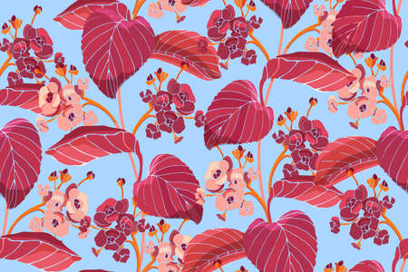 Art floral vector seamless pattern. Red autumn leaves, pink, burgundy hydrangea flowers. Vector garden flowers isolated on sky blue background. For fabric, wallpaper, home and kitchen design.