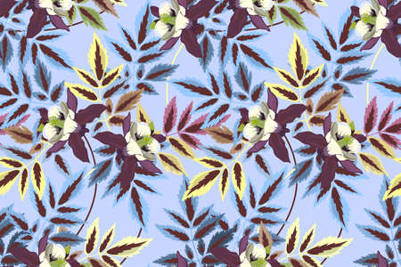 Art floral vector seamless pattern. Plants isolated on light blue background. Pale yellow, blue, brown, burgundi flowers and leaves. For fabric, wallpaper, templates, home and kitchen textile. Иллюстрация