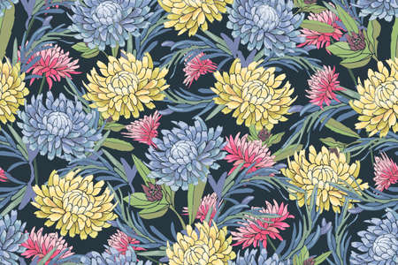 Vector floral seamless pattern. Light blue, pink and yellow autumn asters, chrysanthemum, rosemary, gaillardia on the dark navy blue background. Isolated flowers and leaves.