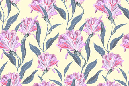 Art floral vector seamless pattern. Delicate pink Ipomoea morning glory isolated on pastel yellow background. Curly flowers with green leaves. For fabric, home and kitchen textile, wallpaper design. Illustration