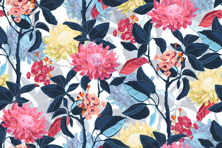Art floral vector seamless pattern. Pink, yellow, blue flowers isolated on white background. Deep blue leaves, light blue transparent overlays leaves. For fabric, home and kitchen textile, paper. Illustration