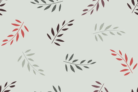 Art floral vector seamless pattern. Red, olive branches with leaves isolated on light grey background. For fabric, home and kitchen textile, wallpaper design, wrapping paper.