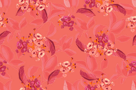 Coral color background. Floral seamless pattern. Vector pink and beige flowers with transparent overlays branches and leaves isolated on coral color. For fabric, home and kitchen textile, paper.