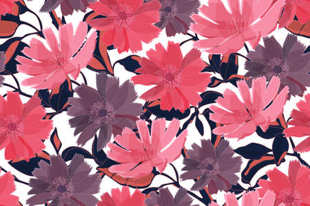Art floral vector seamless pattern. Pink and purple flowers wirh branches, leaves isolated on white background. For fabric, home and kitchen textile, wallpaper design, wrapping paper, accessories. Illustration