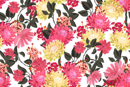 Art floral vector seamless pattern. Fresh garden flowers with branches and leaves isolated on white background. Pink, pale yellow, burgundi flowers. For fabric, home and kitchen textile, wallpaper.