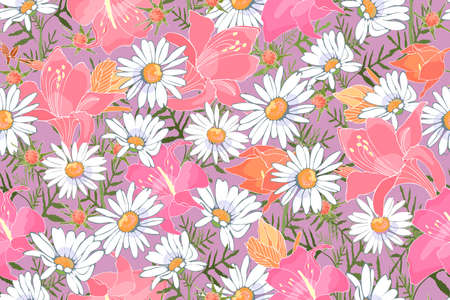 Art floral vector seamless pattern. Garden flowers isolated on pale violet background. White camomiles, pink and orange lilies. Delicate print for fabrics, home textiles, gift wrapping, accessories.