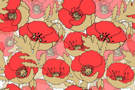 Art floral vector seamless pattern with red poppy flower. Red papavers with beige stems, leaves, seeds isolated on a white background. Transparent overlays.