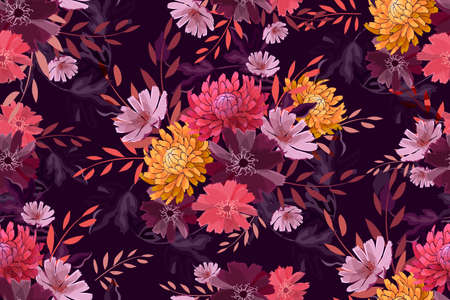 Art floral vector seamless pattern. Summer, autumn garden flowers isolated on deep purple background. Yellow, pink, pale purple asters, chrysanthemums, coral color twigs with leaves.