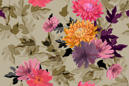 Art floral vector seamless pattern. Autumn red, orange, purple asters, chrysanthemums flowers isolated on olive background. Transparent overlays leaves. For fabric, wallpaper, textile.