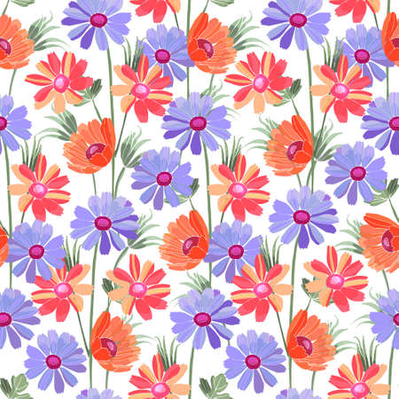 Art floral vector seamless pattern. Blue and red flowers isolated on white background. Naive art.