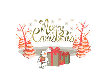 Christmas card. Handwritten lettering Merry Christmas. Ice rink on the lake, trees, Christmas trees. Happy Bunny sitting with gift boxes. Vector elements isolated on white background.