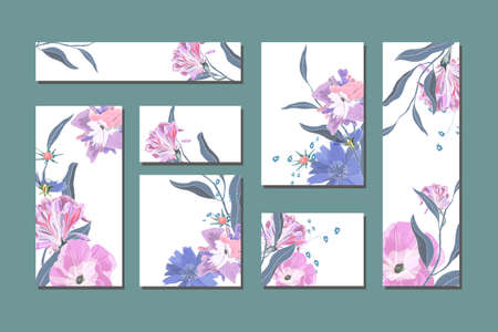 Vector floral templates with cute blue and pink flowers. For romantic and easter design, announcements, greeting cards, posters, advertisement. Blue chicory, pink ipomoea with green leaves,