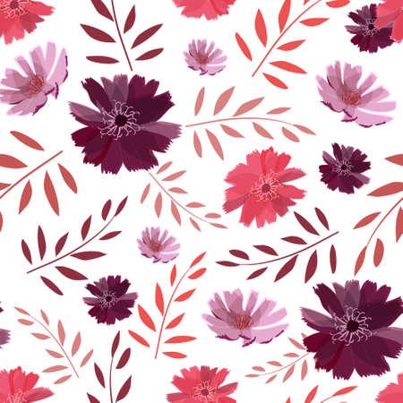 Art floral vector seamless pattern. Summer, autumn garden flowers.