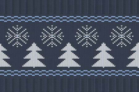 Vector seamless Nordic Knitting Pattern in blue, white colors with snowflakes and Christmas trees. Christmas and Winter holiday Sweater Design with elastic band. Plain and ribbed knitting.
