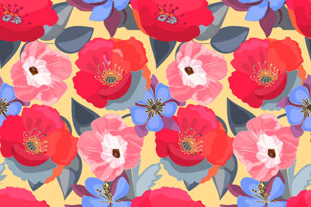 Art vector floral seamless pattern. Poppy, Ipomoea