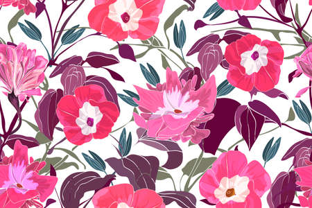 Art floral vector seamless pattern. Pink morning glory flowers, branches and leaves. Vector garden flowers isolated on white background. Endless pattern for wallpaper, fabric, textiles, accessories.