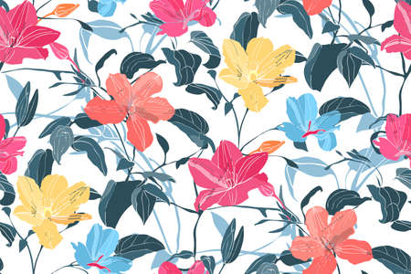 Art floral vector seamless pattern. Yellow, pink, orange, blue flowers isolated on white background. Deep blue leaves, light blue transparent overlays leaves. For fabric, home and kitchen textile.