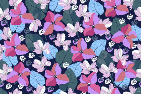 Art floral vector seamless pattern. Delicate spring pink and purple flowers, blue twigs and leaves isolated on a dark blue background. Endless pattern for wallpaper, fabric, textiles, accessories.