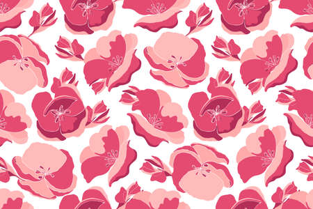 Art floral vector seamless pattern. Pink garden flowers isolated on white background. Endless pattern for wallpaper, fabric, textiles, accessories.