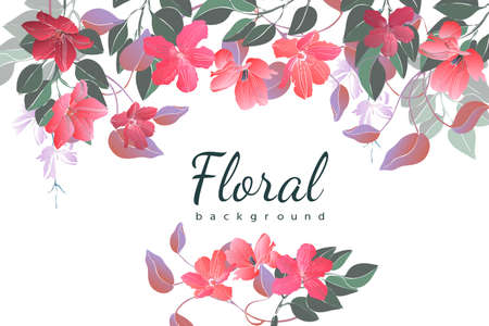 Vector floral background. Card with garden flowers