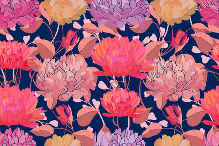 Art floral vector seamless pattern. Pink, yellow, purple garden flowers isolated on deep blue background. For fabric, home textile, paper, accessories.