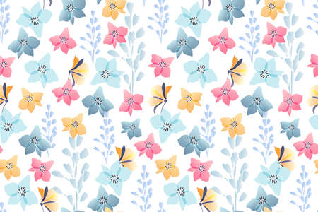Art floral vector seamless pattern. Pastel flowers
