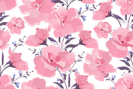 Art floral vector seamless pattern. Violet flowers