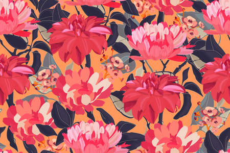 Art floral vector seamless pattern. Red flowers.