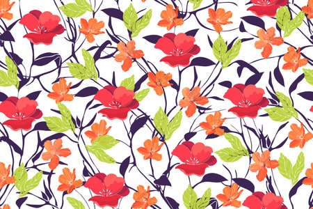 Art floral vector seamless pattern Spring flowers Çizim