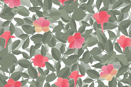 Art floral vector seamless pattern. Pink Flower. Illustration
