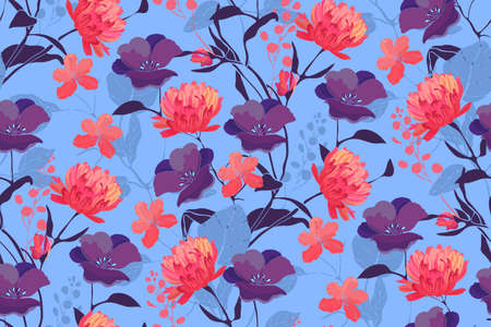 Art floral vector seamless pattern with flowers.
