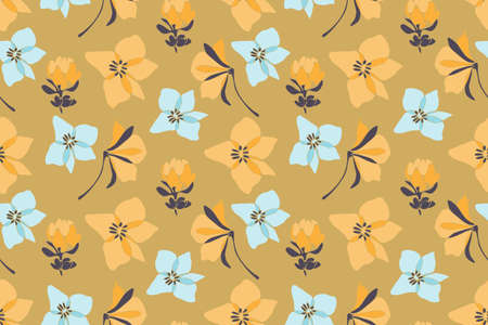 Vanilla vector seamless pattern with pale flowers.