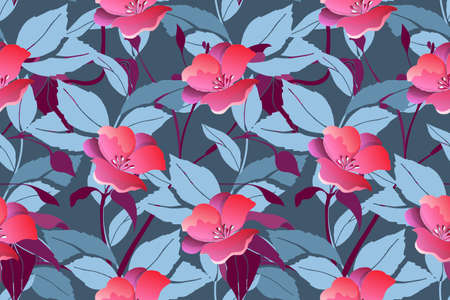 Art floral vector seamless pattern. Pink flowers.