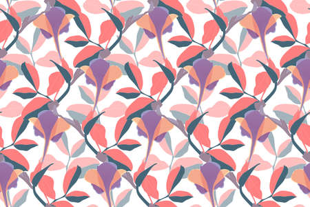 Art floral vector seamless pattern. Coral cleaves. Иллюстрация