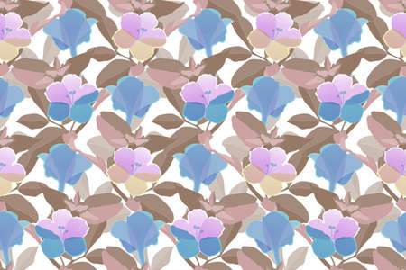Art floral vector seamless pattern. Brown leaves.